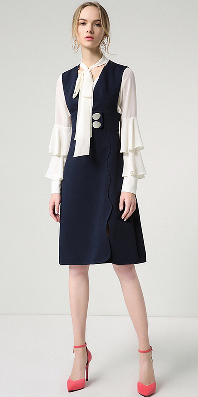blue-navy-dress-jumper-white-top-blouse-blonde-earrings-magenta-shoe-pumps-fall-winter-lunch.jpg