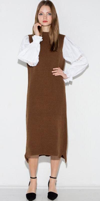 brown-dress-sweater-white-top-blouse-peasant-black-shoe-pumps-layer-fall-winter-blonde-work.jpg