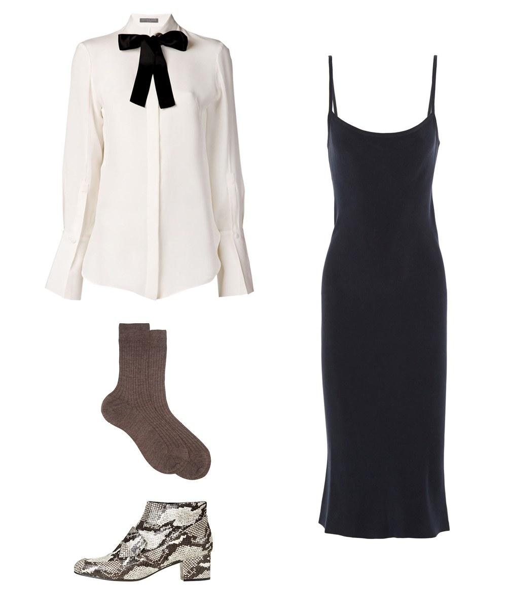 black-slip-dress-white-top-blouse-bow-white-shoe-booties-socks-layer-howtowear-fall-winter-lunch.jpg