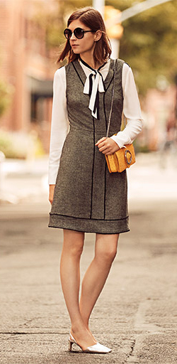 grayd-dress-a-shift-white-top-blouse-bow-gray-shoe-pumps-yellow-bag-sun-wear-style-fashion-spring-summer-tweed-layer-office-hairr-work.jpg
