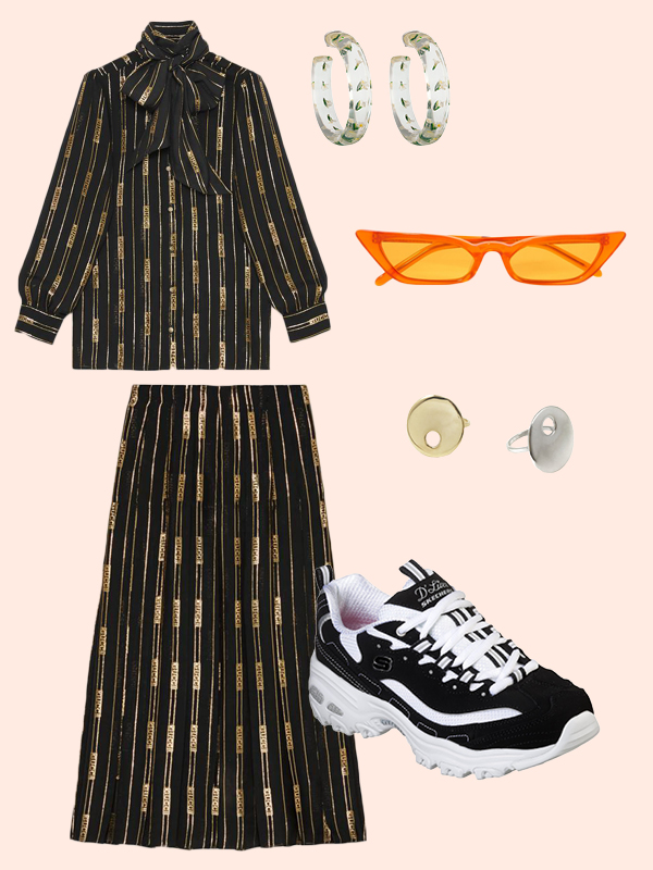 black-midi-skirt-matchset-black-top-blouse-hoops-sun-black-shoe-sneakers-dad-chunky-gold-fall-winter-lunch.jpg