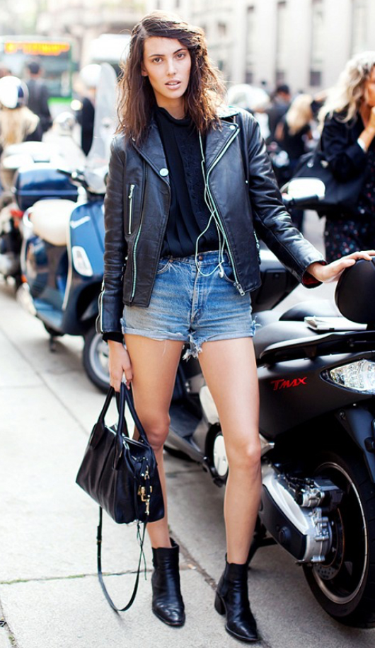 blue-light-shorts-black-top-blouse-black-jacket-moto-howtowear-fashion-style-outfit-fall-winter-black-shoe-booties-black-bag-denim-brun-weekend.jpg
