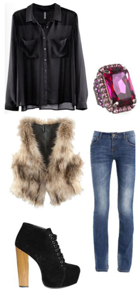 blue-med-skinny-jeans-black-top-blouse-o-tan-vest-fur-howtowear-fashion-style-outfit-fall-winter-ring-black-shoe-booties-dinner.jpg