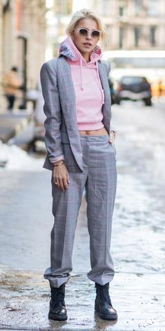 grayl-wideleg-pants-plaid-suit-pink-light-sweater-sweatshirt-hoodie-blonde-sun-grayl-jacket-blazer-black-shoe-booties-fall-winter-weekend.jpg