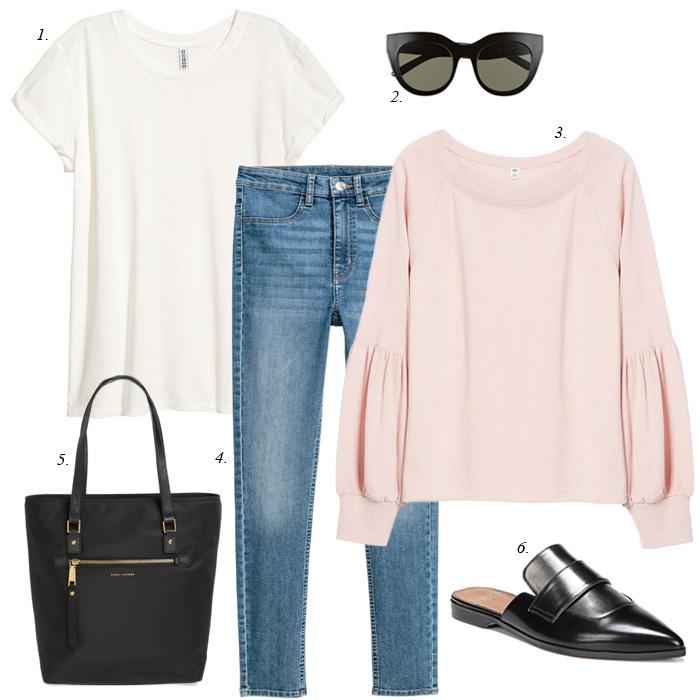 blue-med-skinny-jeans-pink-light-sweater-sweatshirt-white-tee-sun-black-bag-black-shoe-loafers-spring-summer-weekend.jpg