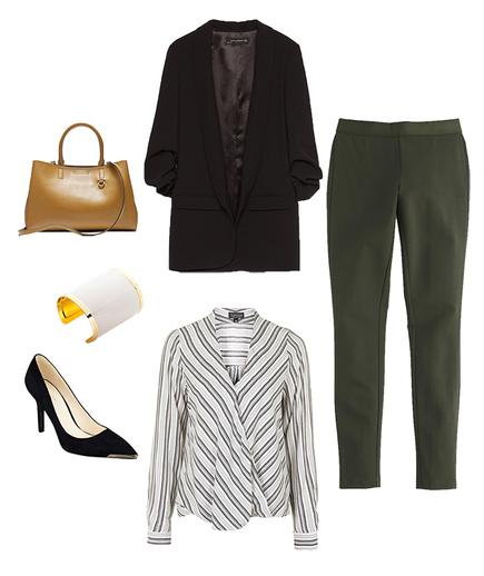 green-olive-leggings-white-top-blouse-stripe-black-jacket-blazer-black-shoe-pumps-bracelet-cognac-bag-tote-fall-winter-work.jpg
