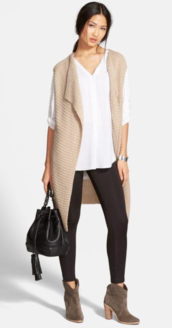 black-leggings-white-top-blouse-tan-vest-knit-black-bag-pony-tan-shoe-booties-wear-style-fashion-fall-winter-brun-lunch.jpg