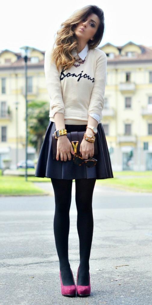 black-mini-skirt-white-sweater-sweatshirt-white-collared-shirt-layer-black-tights-burgundy-shoe-pumps-black-bag-fall-winter-hairr-dinner.jpg