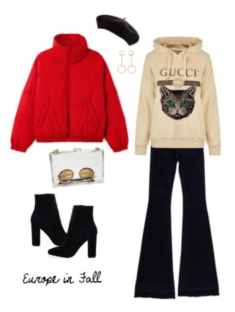 black-flare-jeans-white-sweater-sweatshirt-hoodie-graphic-hat-beret-red-jacket-coat-puffer-black-shoe-booties-earrings-fall-winter-lunch.jpg