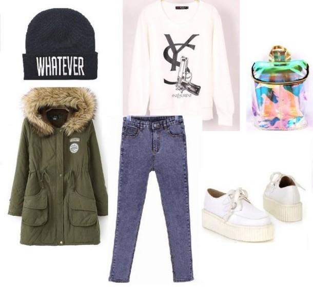 blue-med-skinny-jeans-white-sweater-sweatshirt-green-olive-jacket-coat-park-white-shoe-sneakers-beanie-fall-winter-weekend.jpg