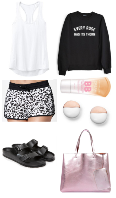 white-shorts-white-cami-black-sweater-sweatshirt-graphic-print-studs-pink-bag-tote-black-shoe-sandals-howtowear-fashion-style-outfit-spring-summer-weekend.jpg