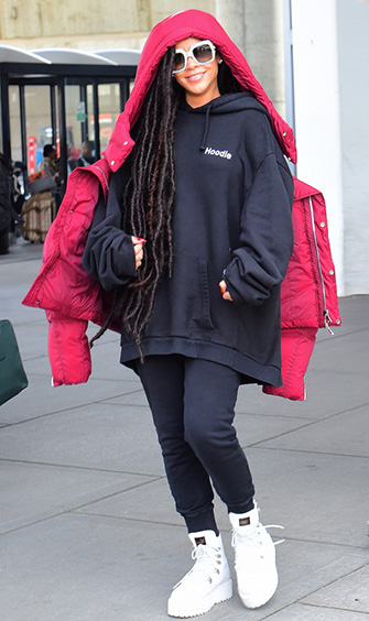 black-joggers-pants-black-sweater-sweatshirt-white-shoe-booties-sun-rihanna-red-jacket-coat-puffer-fall-winter-brun-weekend.jpg
