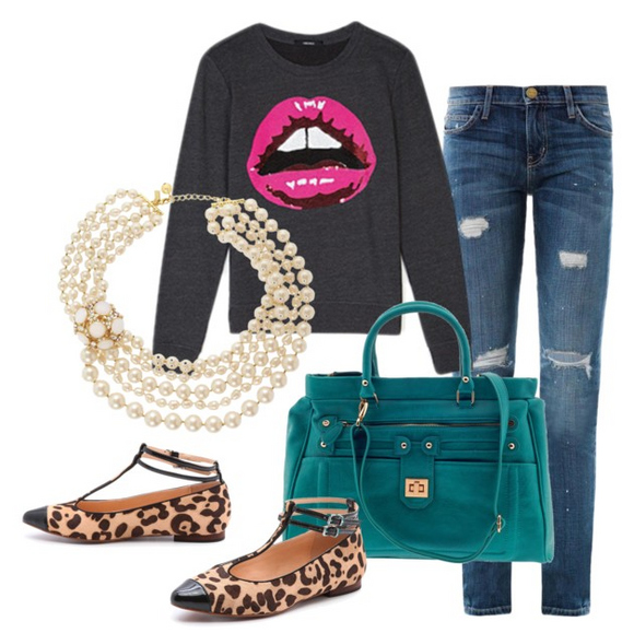 blue-navy-skinny-jeans-green-bag-tan-shoe-flats-leopard-print-pearl-necklace-black-sweater-sweatshirt-graphic-fall-winter-lunch.jpg