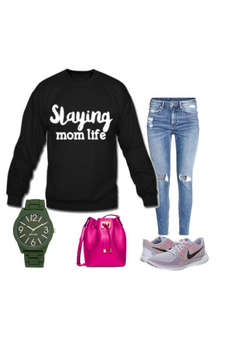 blue-med-skinny-jeans-black-sweater-sweatshirt-graphic-slayingmomlife-gray-shoe-sneakers-pink-bag-watch-spring-summer-weekend.jpg