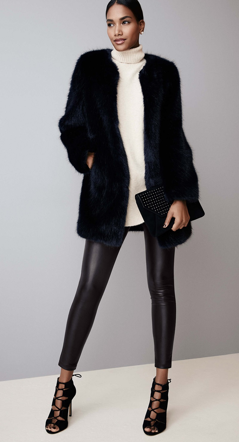 black-leggings-leather-black-shoe-sandalh-bun-black-bag-clutch-white-sweater-sleeveless-turtleneck-black-jacket-coat-fur-fuzz-fall-winter-brun-dinner.jpg