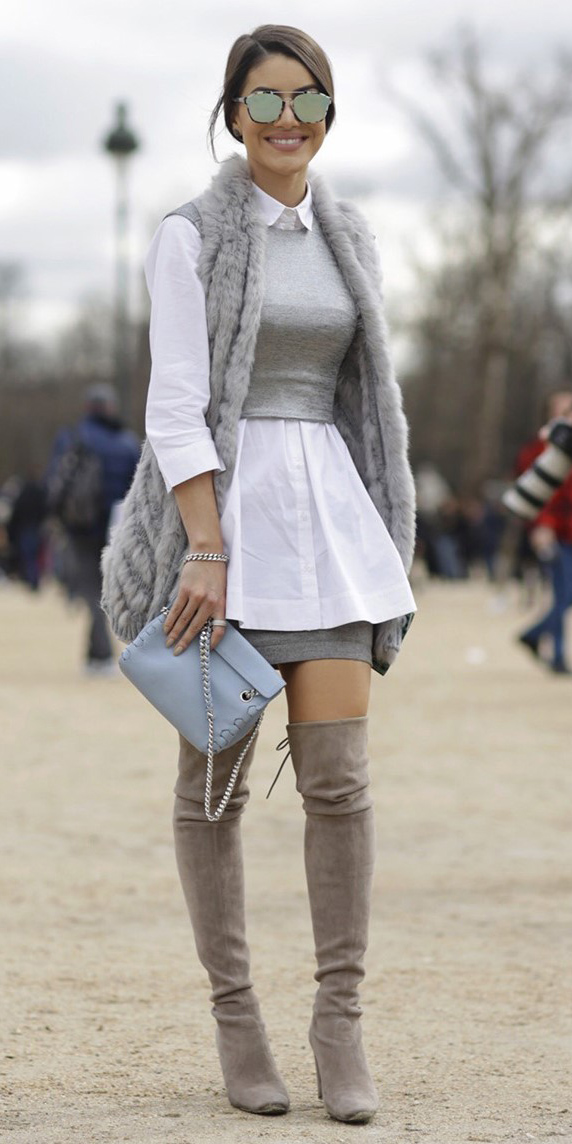 grayl-mini-skirt-white-collared-shirt-grayl-sweater-sleeveless-vest-sun-grayl-vest-fur-blue-bag-gray-shoe-boots-otk-hairr-fall-winter-dinner-layer.jpg