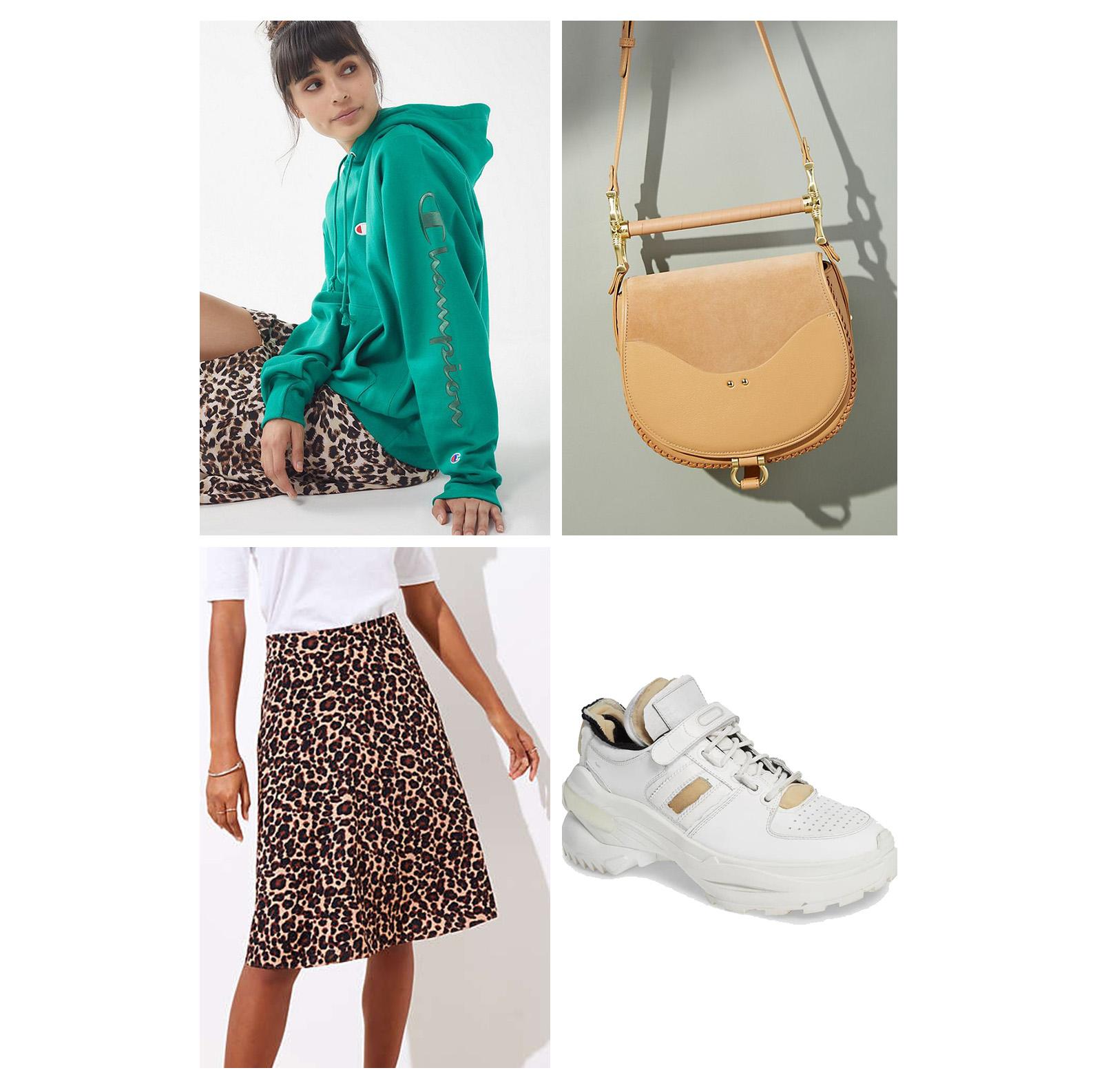 fall-autumn-outfit-weekend-2018-fashion-ideas-leopard-print-skirt-aline-green-hoodie-sweatshirt-white-dad-sneakers-tan-handbag-casual.jpg