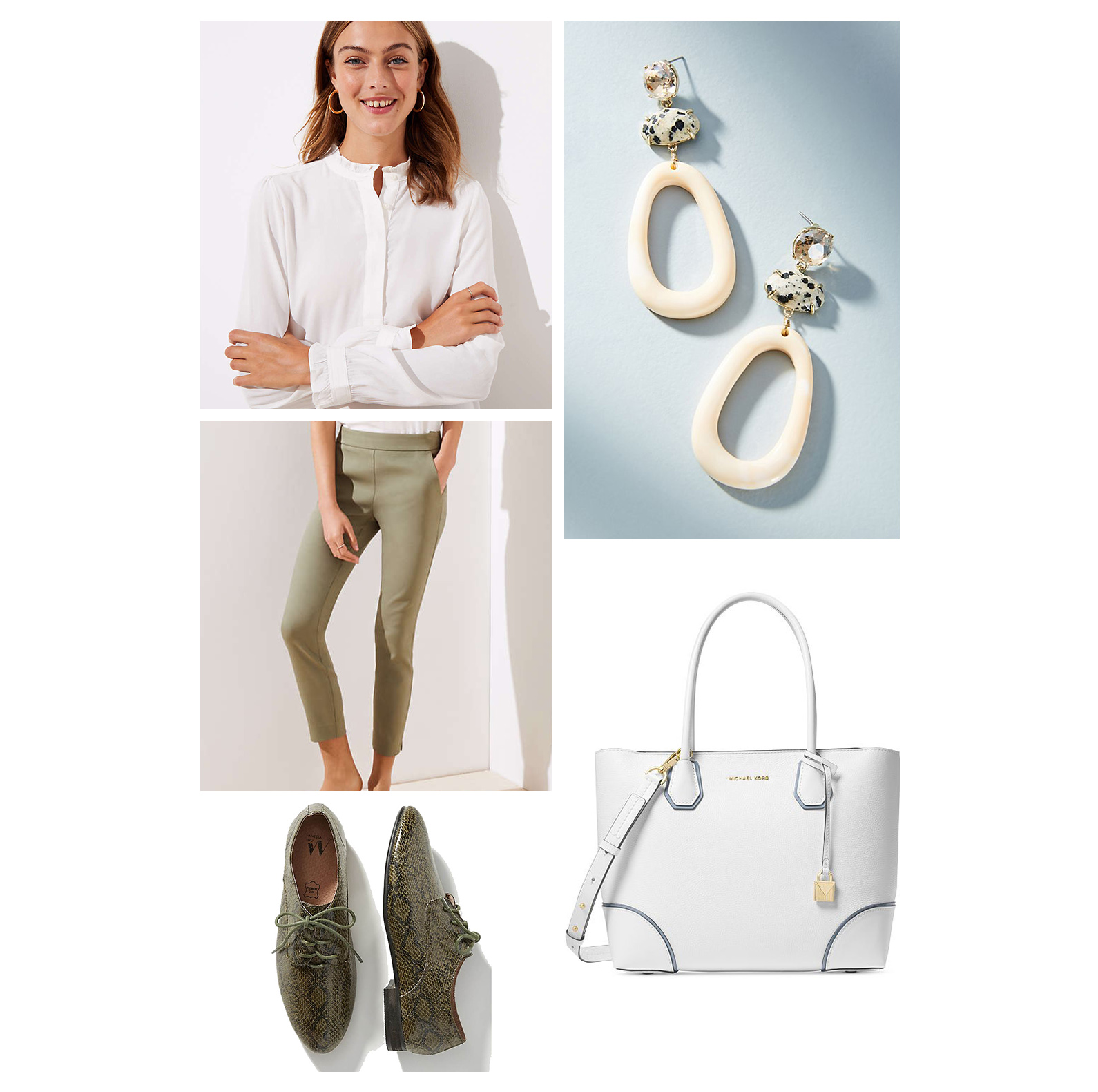 fall-autumn-outfit-work-2018-fashion-ideas-olive-green-slim-pants-white-top-drop-statement-earrings-tote-snakeskin-loafers-brogues-office.jpg