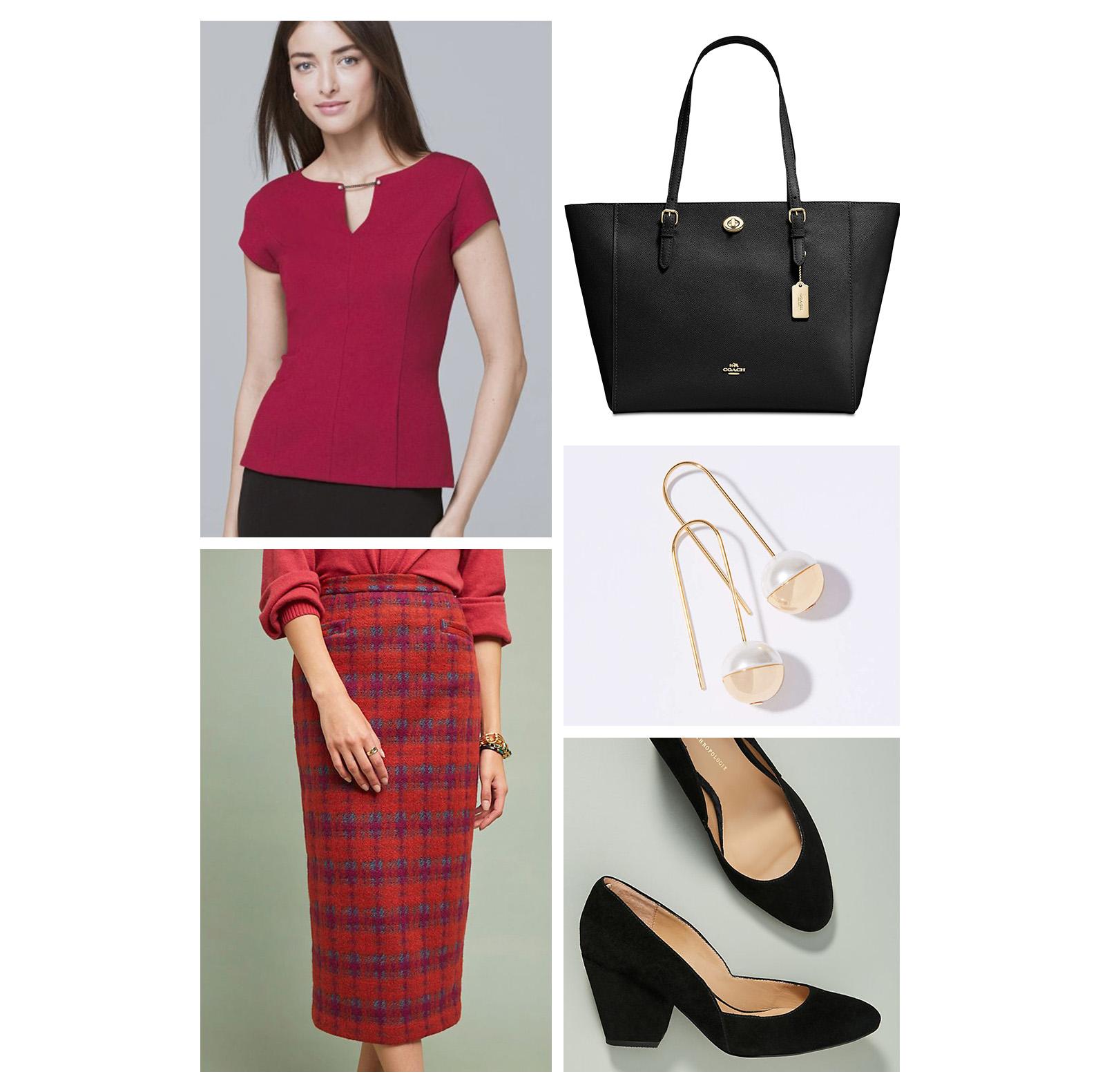 fall-autumn-outfit-work-2018-fashion-ideas-red-plaid-midi-pencil-skirt-top-black-pumps-tote-bag-pearl-gold-earrings-retro-office.jpg