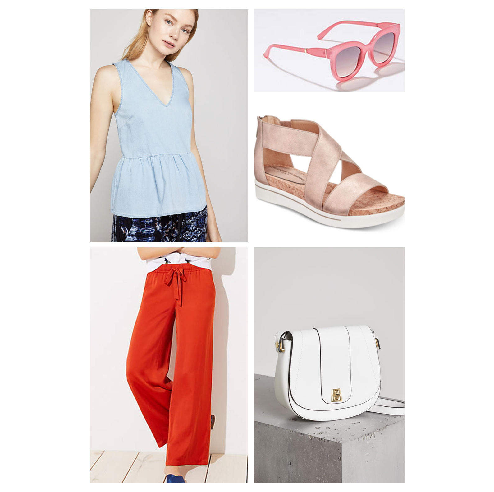 weekend-outfit-red-pants-white-bag-sandals-pink-sunglasses.jpg