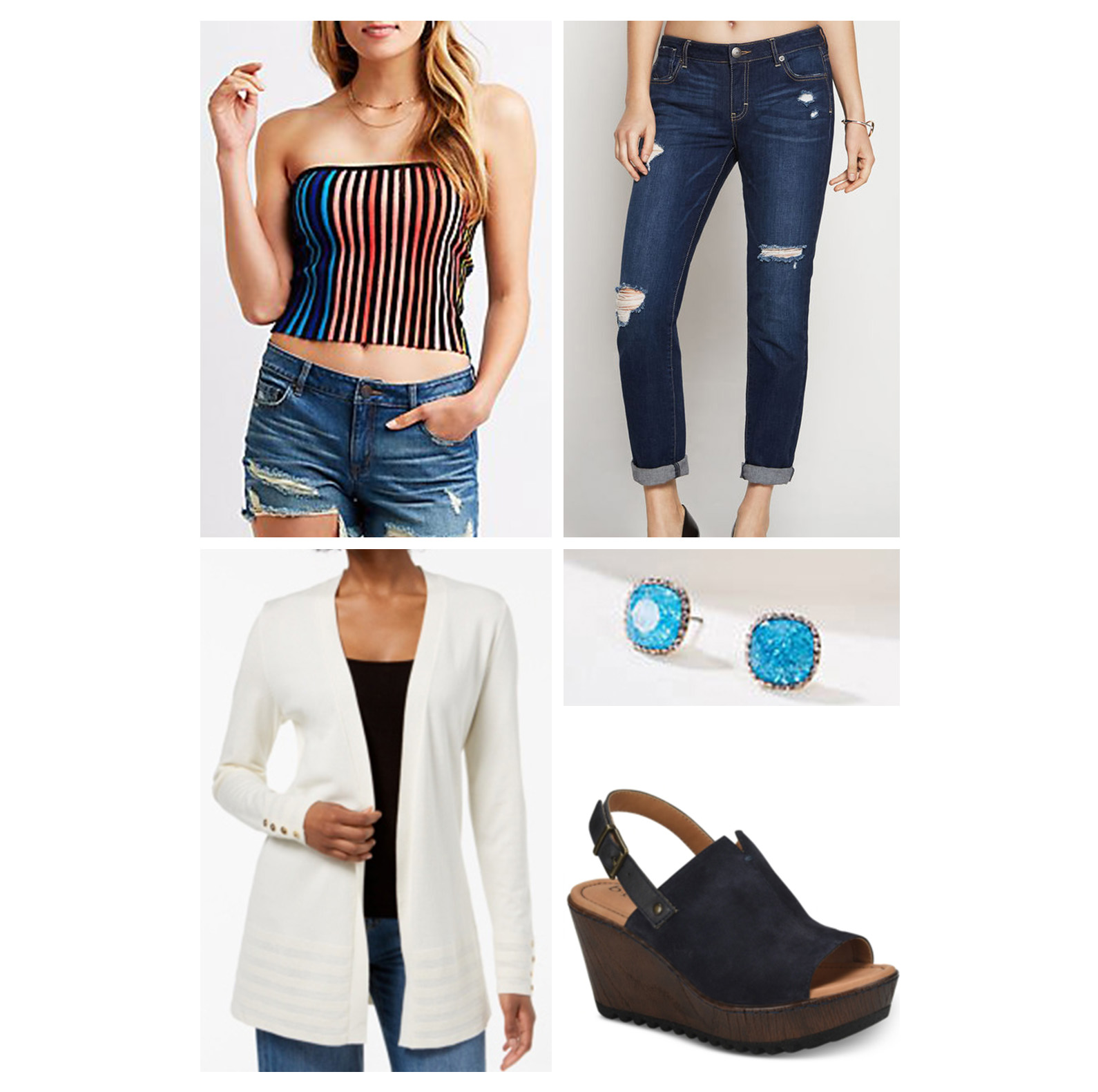 weekend-outfit-jeans-tube-top-striped-wedges-blue-studs-white-cardigan.jpg
