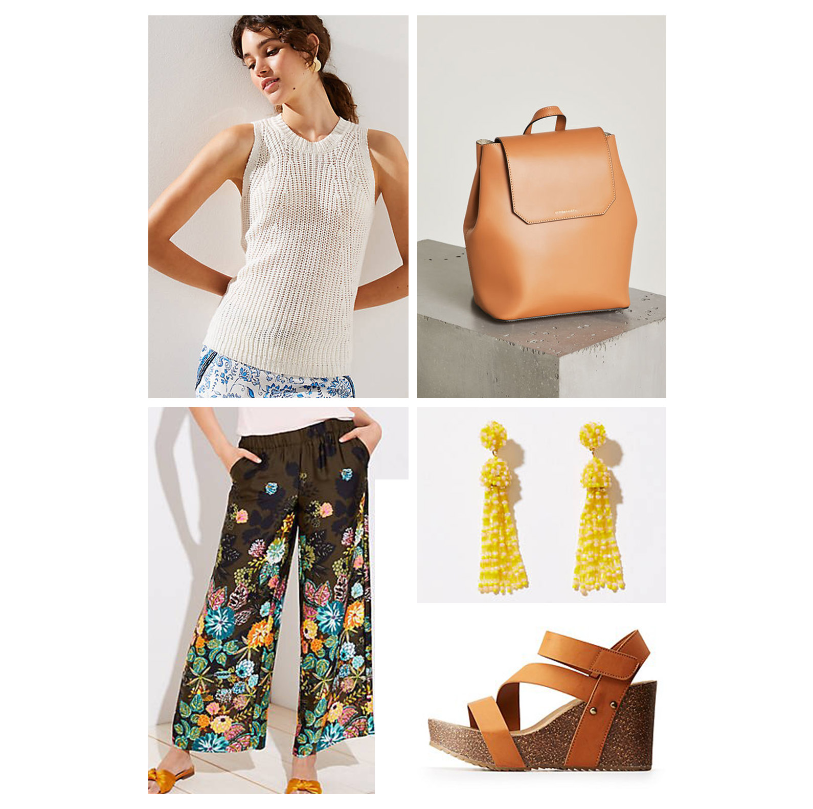 weekend-outfit-wideleg-pants-white-knit-sleeveless-sweater-wedge-sandals-yellow-earrings.jpg