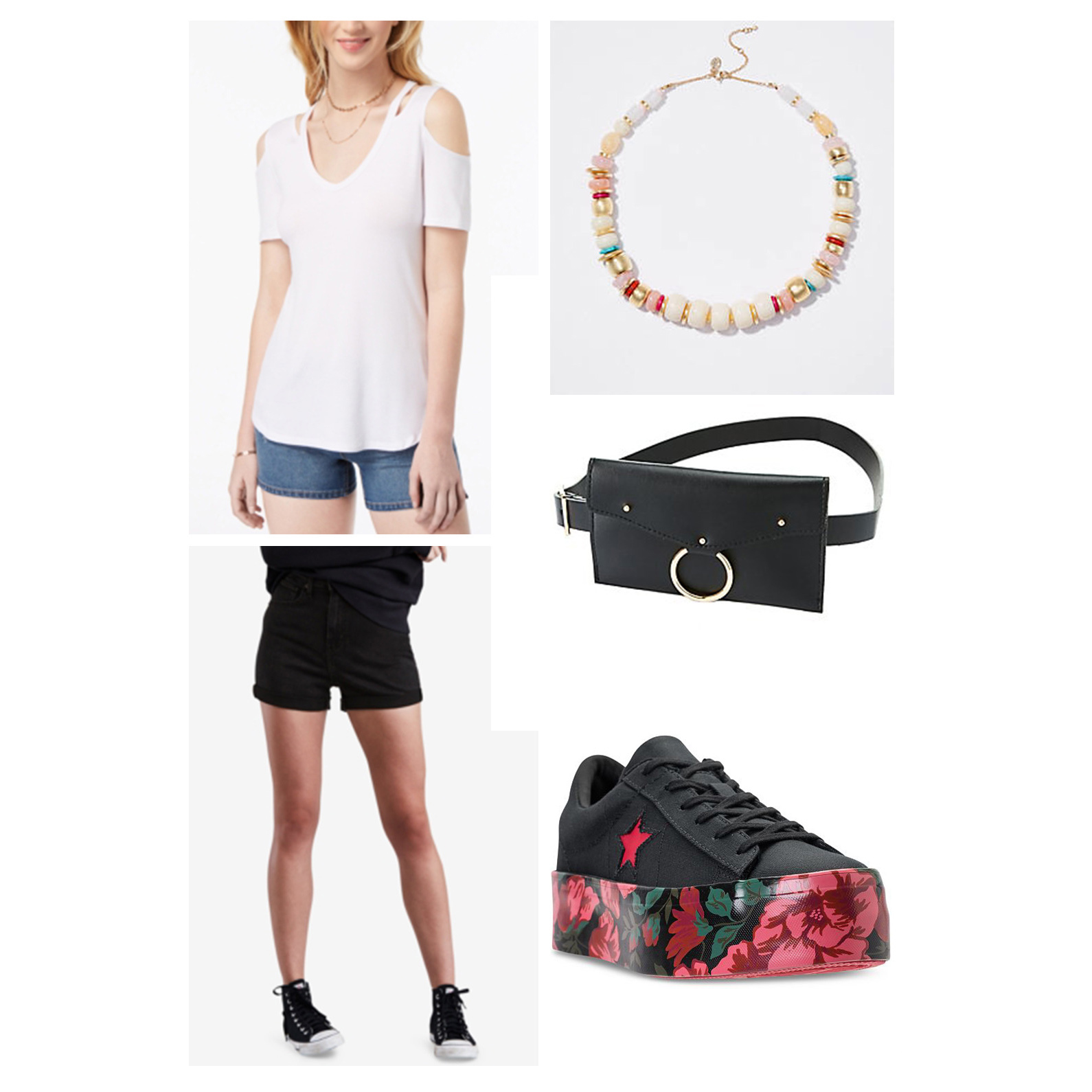 summer-oufit-weekend-2018-black-shorts-white-tee-cutout-bead-necklace-belt-bag-how-to-wear-floral-print-platform-sneakers-converse-fashion-ideas.jpg