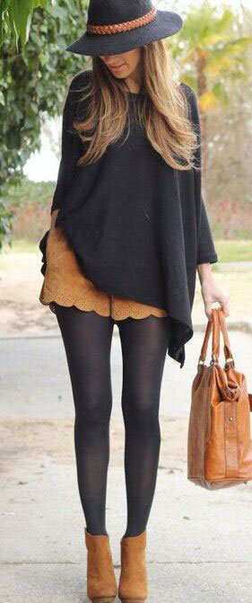 camel-shorts-black-tights-black-sweater-poncho-hat-hairr-cognac-bag-cognac-shoe-booties-fall-winter-lunch.jpg