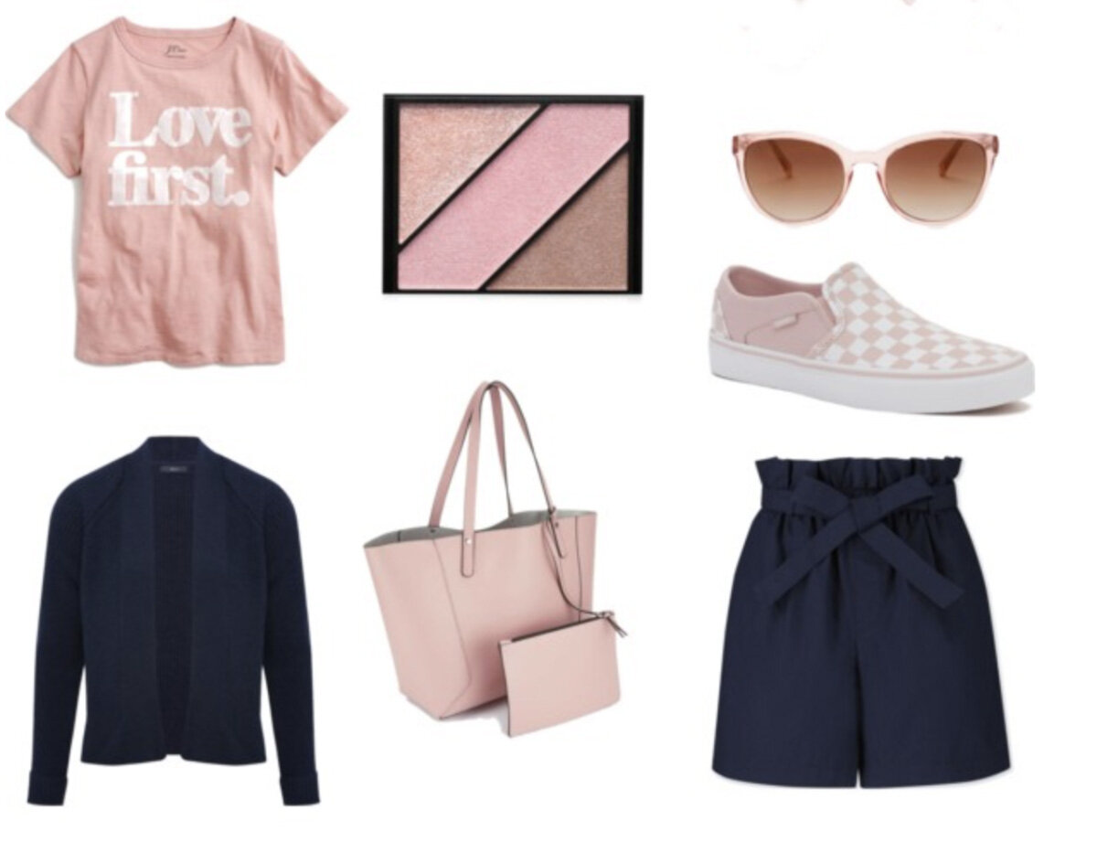 blue-navy-shorts-pink-light-graphic-tee-pink-shoe-sneakers-pink-bag-tote-sun-blue-navy-cardigan-spring-summer-lunch.jpg
