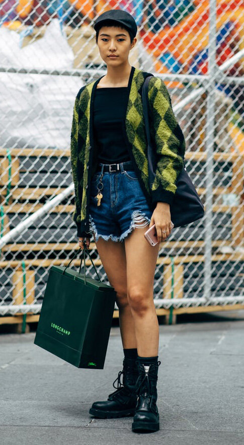 blue-navy-shorts-denim-green-olive-cardigan-argyle-print-hat-cap-black-shoe-booties-fall-winter-weekend.jpg