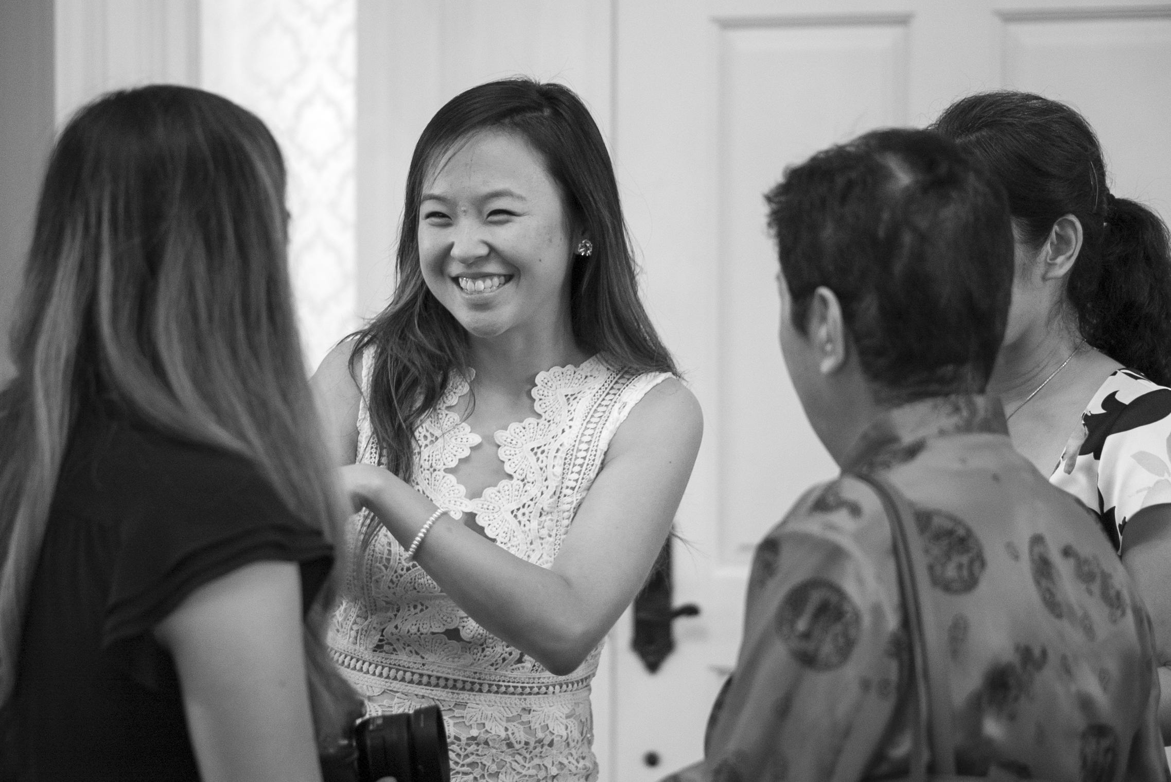 Bride-to-be Catherine shares a laugh with long-distance relatives.