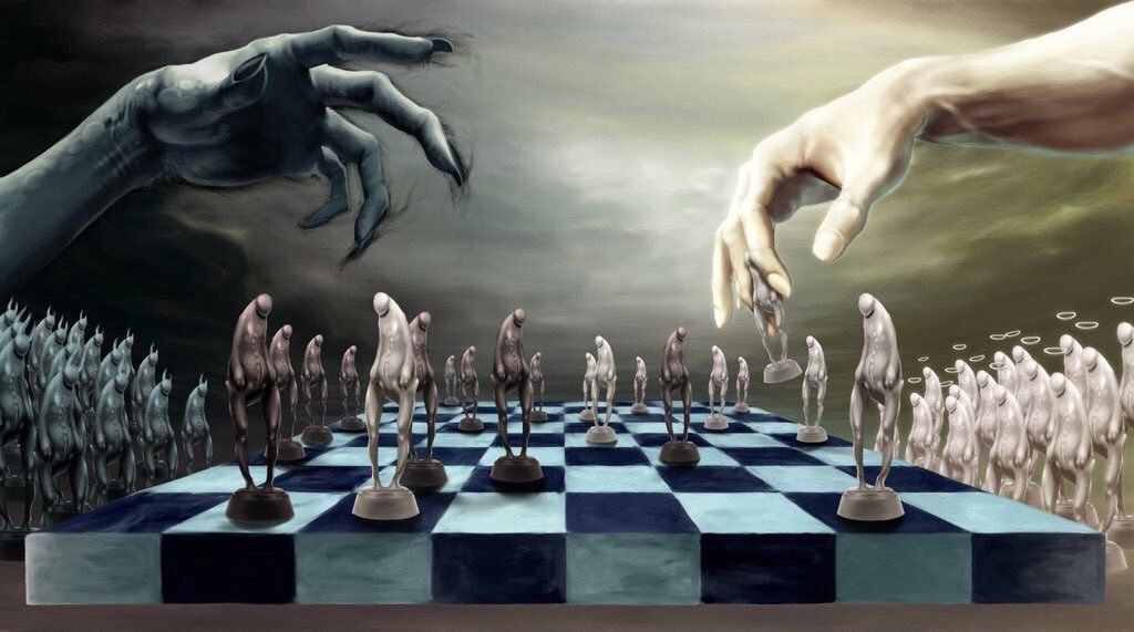 Battle lines drawn Castle takes Rook Mad Queen slays logical Bishop preying on noble Knight whilst Pawns trampled underfoot #darklines 114