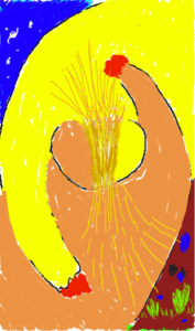 The Divine-Human Connection This drawing depicts the relationship between God and a person. The drawing shows a person reaching with yearning up to God and God reaching out with equal desire; in drawing close to each other, the human mind overlaps with the Divine Spirit.