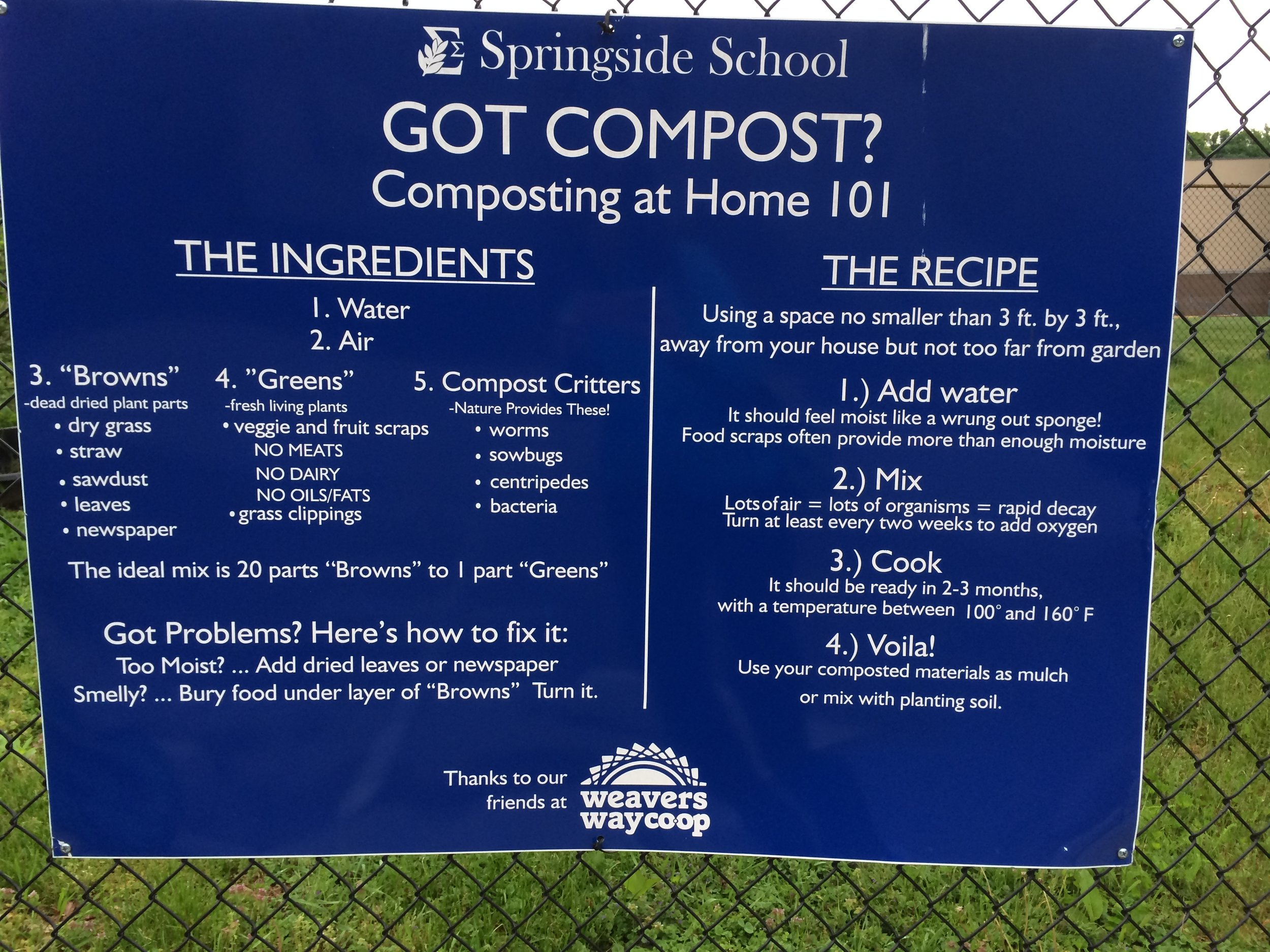 Signage outside the school's garden explains the nuts and bolts of composting to the school community and visitors.