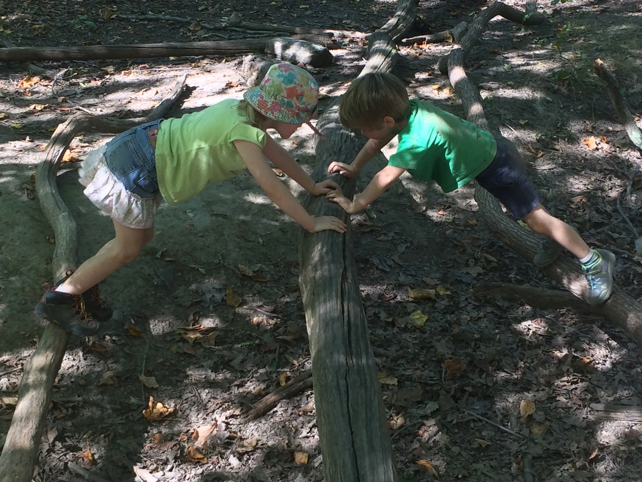 Students find their balance at the Nature Preschool at Schuylkill Center for Environmental Education. Photo courtesy of SCEE.