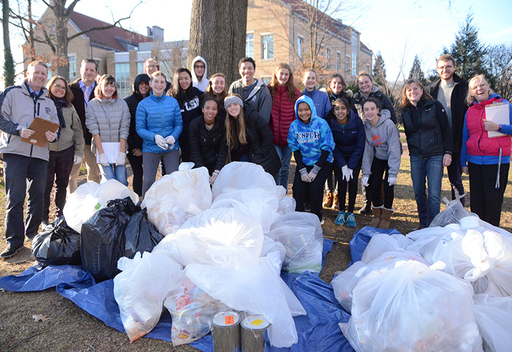Middle and Upper School students and faculty gathered with Mary Ann Boyer and Sam York of BSEC on a cold December day to conduct an initial cafeteria waste audit.