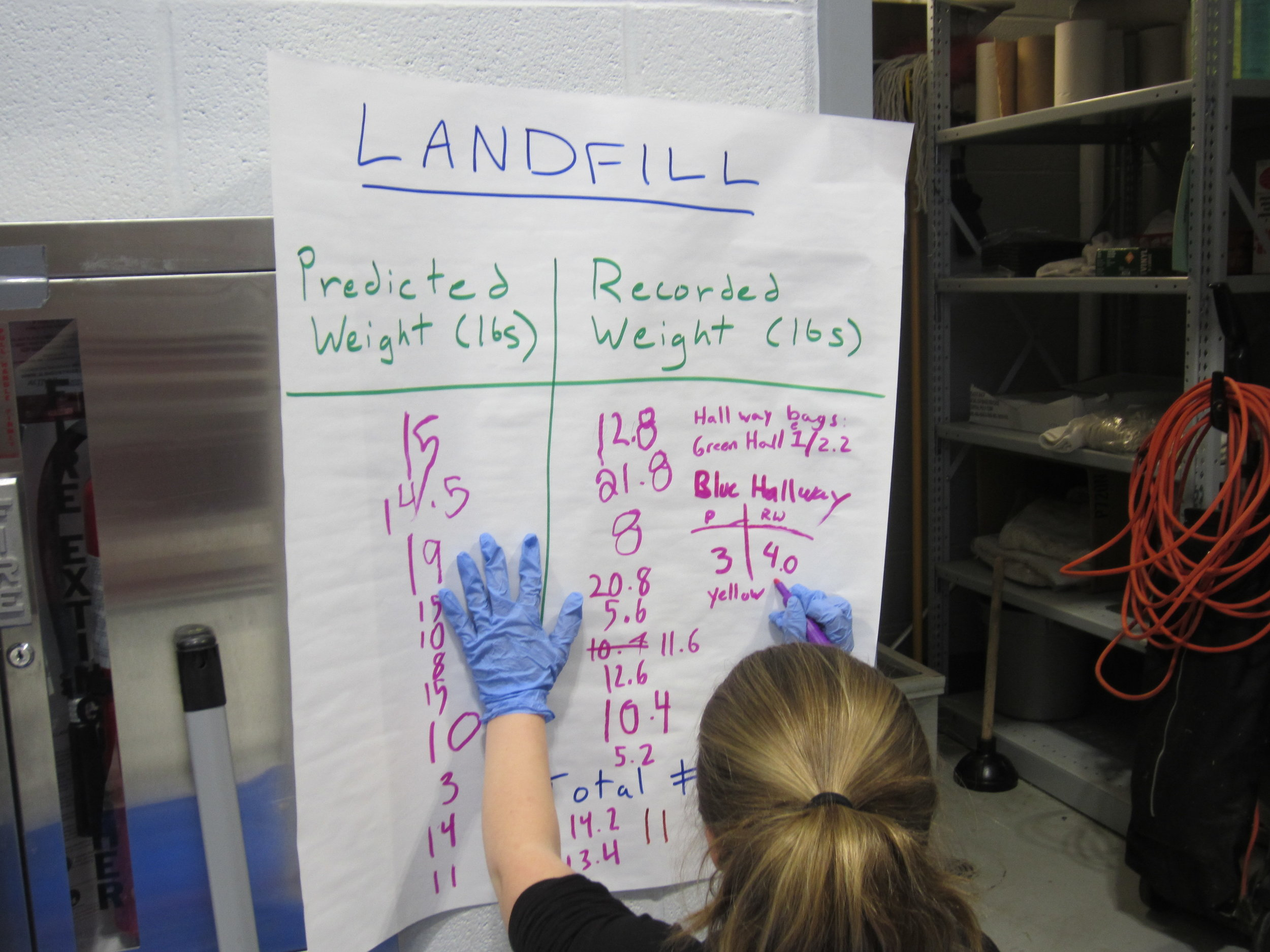 Cooke Elementary students predict how much waste they generate in the cafeteria before weighing each bag as part of their waste audit.
