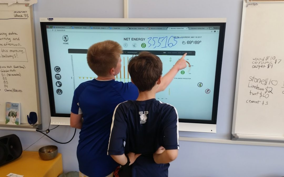 Students at APS Discovery Elementary observe energy use on a display screen. (Photo from the Green Schools National Network.)