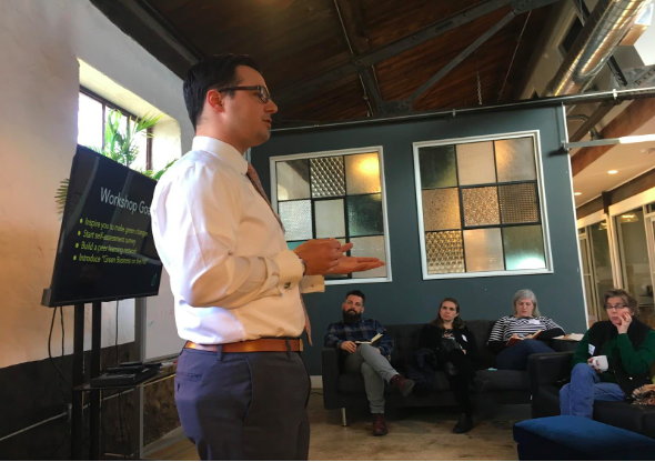 Phil Dawson addresses participants in the How Green is Your Business Workshop on February 28, 2019.