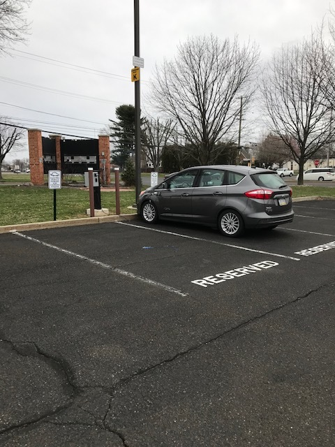 Reserved EV parking spaces at Bucks County Technical High School.  Photo by Leon Poeske