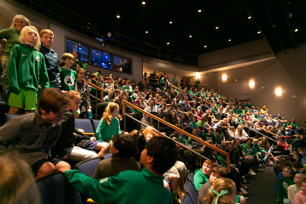 Derby students dressed in green to celebrate the kick off of Earth Week