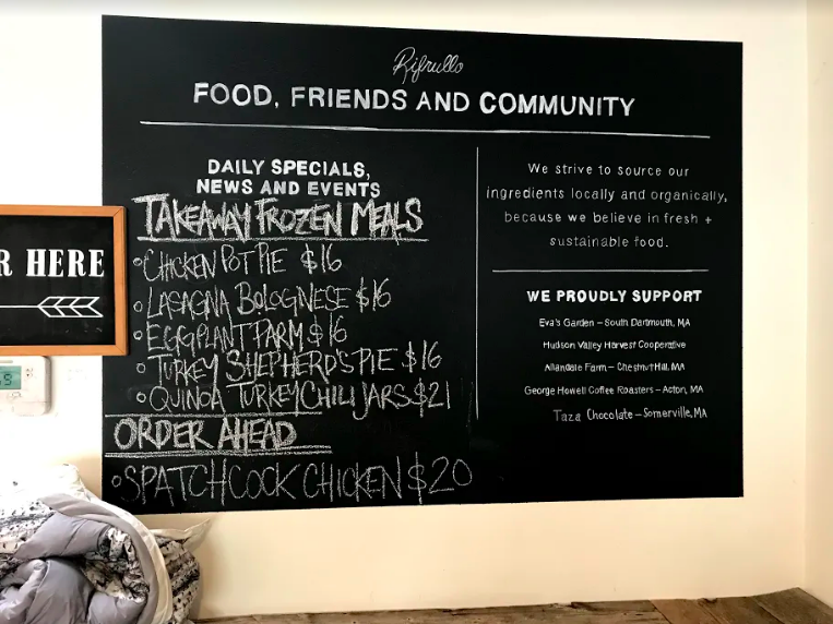 Food, Friends, and Community board at Rifrullo