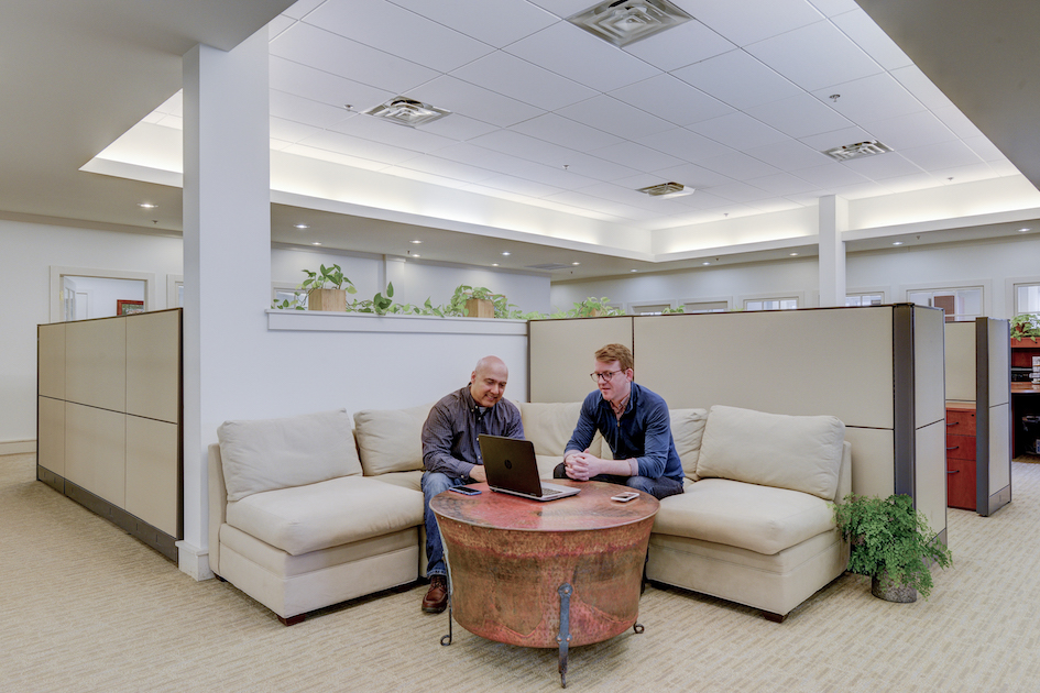 40 West Evergreen's natural light and open space create a friendly work atmosphere.