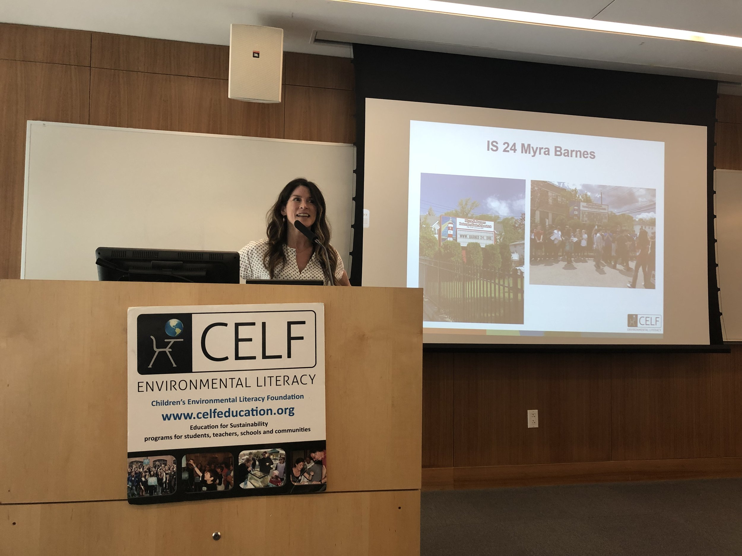 Founder and Executive Director of CELF Katie Ginsberg addressing audience at Citizen Science Air Quality Student Symposium