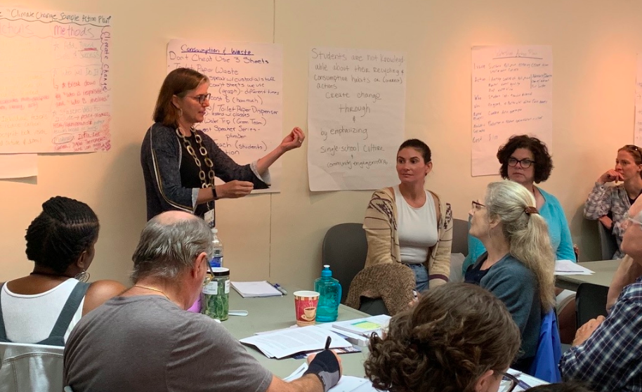 Mary Ann Boyer and Philadelphia teachers explore how to use Action Plans to get their schools to become more green at the climate change workshop.