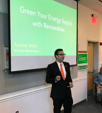 Massachusetts state representative Tommy Vitolo speaks to renewable energy options in Brookline