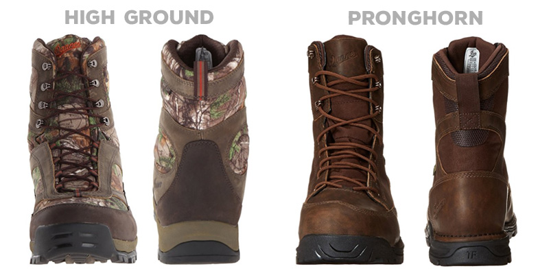 Danner High Ground vs Pronghorn construction comparison.