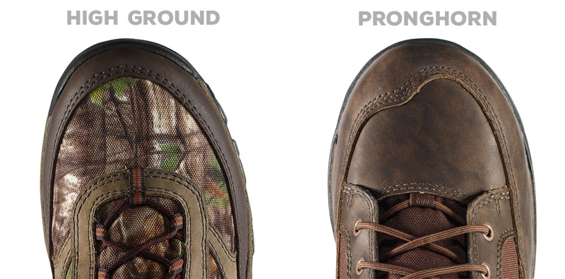 Danner High Ground vs Pronghorn toe box comparison.