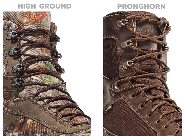 Danner takes two different approuches to lacing.
