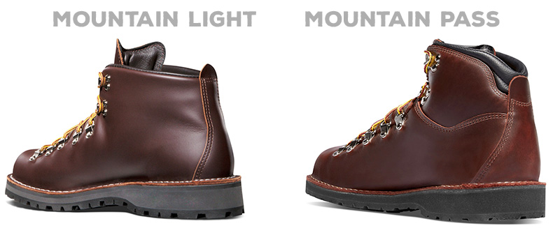 Mountain Light one piece leather design vs Mountain Pass paneled leather uppers.